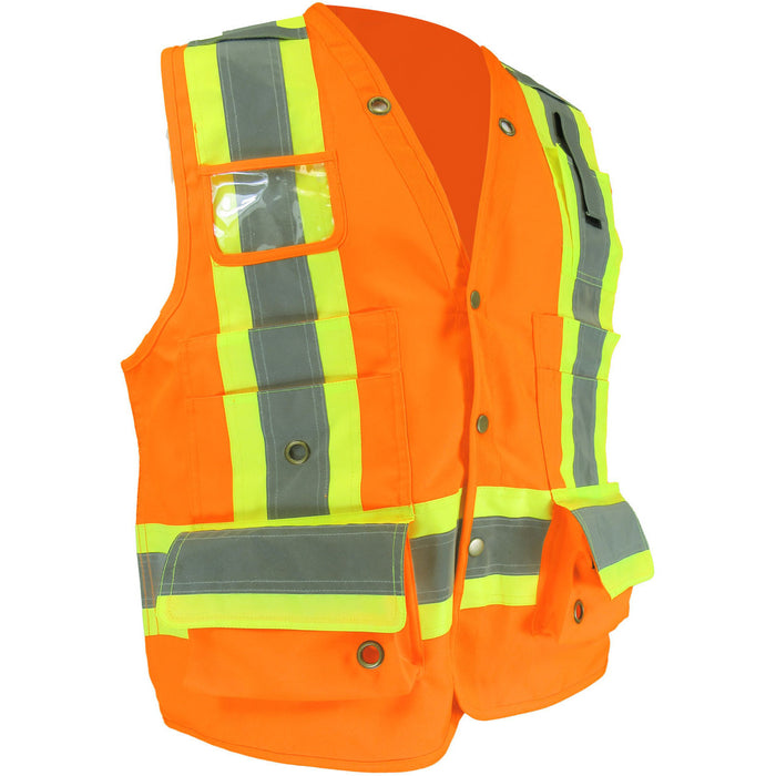 WOVEN POLYESTER SURVEYOR VEST WITH 15 POCKETS, INCLUDING A ZIPPED POCKET AT THE BACK - Black Safety Pearl