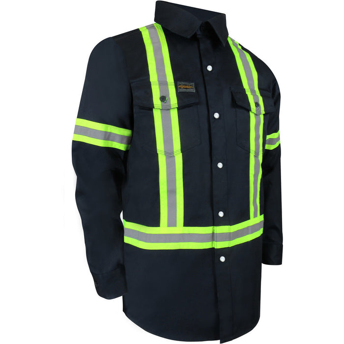 UNLINED LONG SLEEVE SHIRT WITH RUSTPROOF SNAPS AND REFLECTIVE STRIPES