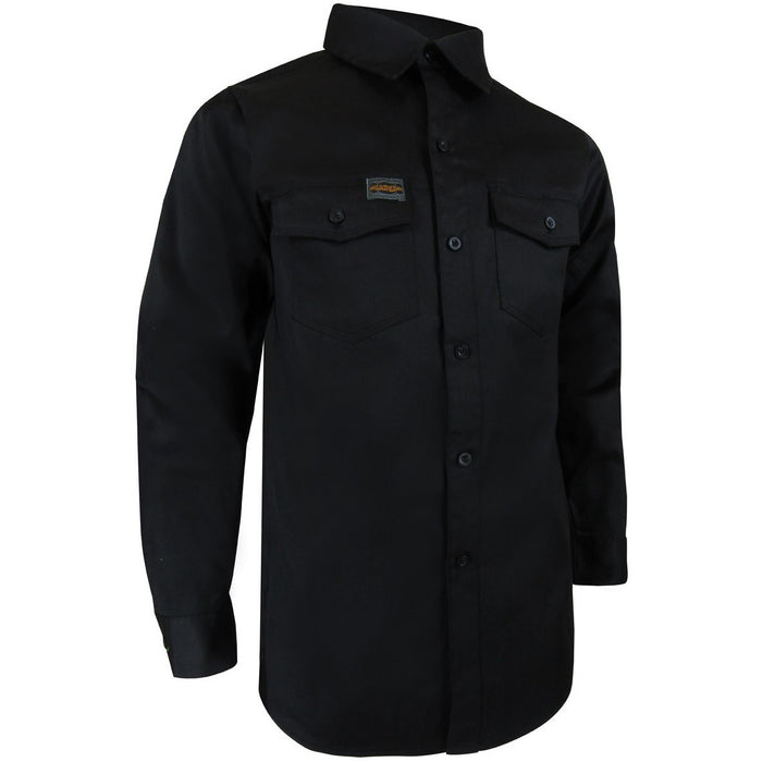 UNLINED LONG SLEEVE SHIRT WITH PLASTIC BUTTONS - Black Safety Pearl
