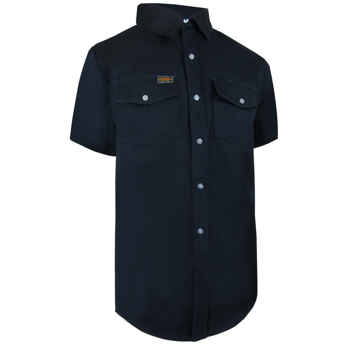 UNLINED SHORT SLEEVE SHIRT WITH PLASTIC BUTTONS - Black Safety Pearl