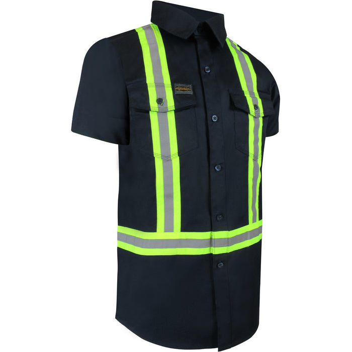UNLINED SHORT SLEEVE SHIRT WITH PLASTIC BUTTONS AND REFLECTIVE STRIPES - Black Safety Pearl