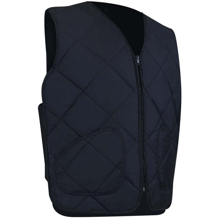 QUILTED FLEECE LINED FREEZER VEST - Black Safety Pearl