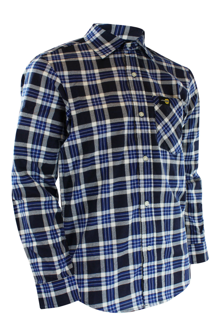 FLANNEL SHIRT WITH REGULAR PLASTIC BUTTONS - Black Safety Pearl