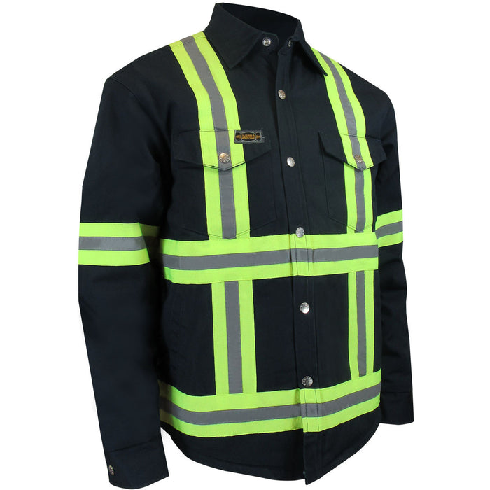 QUILTED LONG SLEEVES SHIRT WITH RUSTPROOF SNAPS AND REFLECTIVE STRIPES - Black Safety Pearl