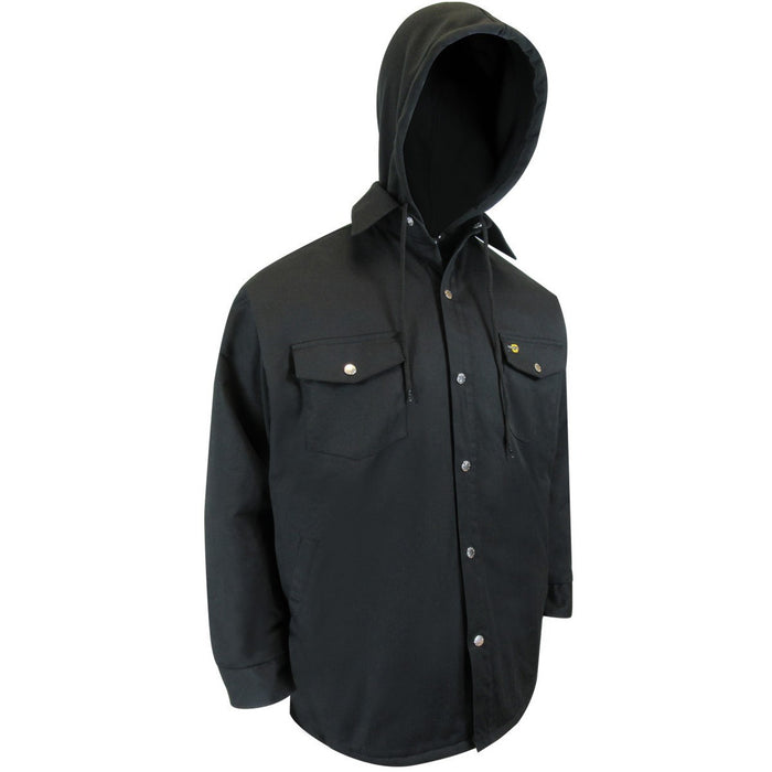 QUILTED LONG SLEEVE SHIRT WITH RUSTPROOF SNAPS. - Black Safety Pearl