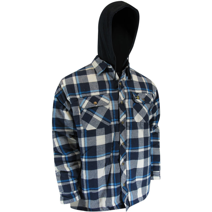 QUILTED FLANNEL SHIRT WITH HOOD AND RUSTPROOF SNAPS