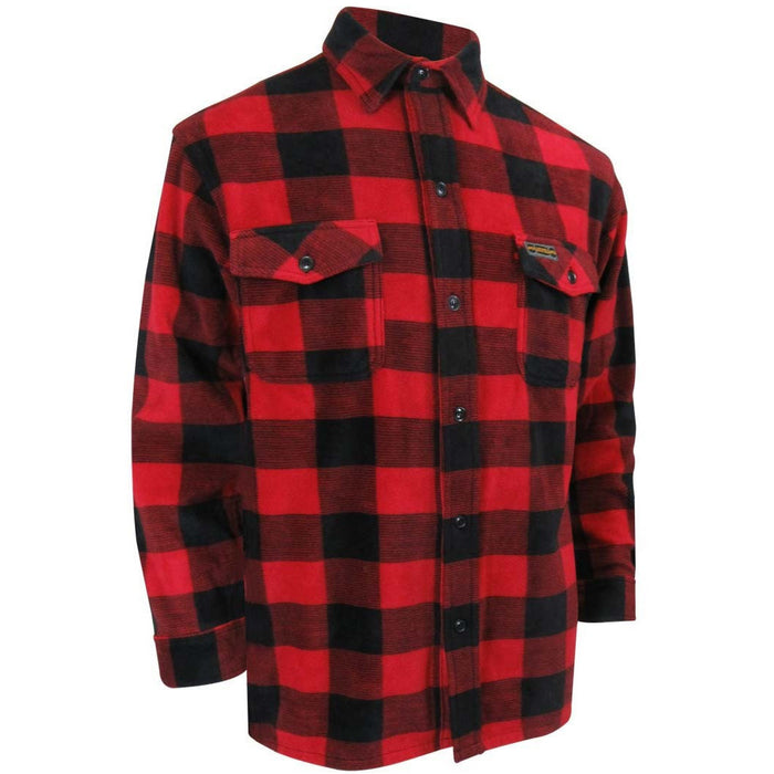 POLAR FLEECE SHIRT WITH REGULAR PLASTIC BUTTONS - Black Safety Pearl