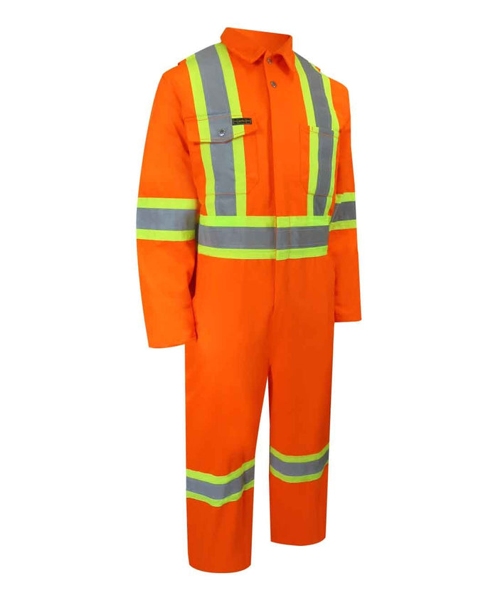 UNLINED COVERALL WITH ZIPPER ON THE LEGS AND REFLECTIVE STRIPES.