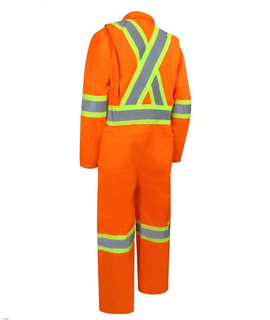UNLINED COVERALL WITH ZIPPER ON THE LEGS AND REFLECTIVE STRIPES. - Black Safety Pearl