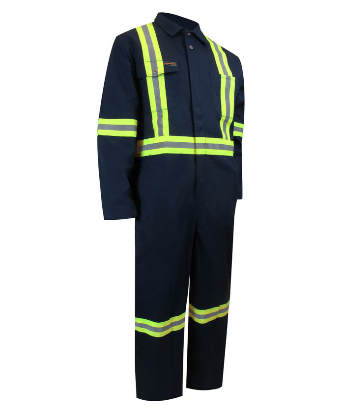 UNLINED COVERALL WITH ZIPPER ON THE LEGS AND REFLECTIVE STRIPES