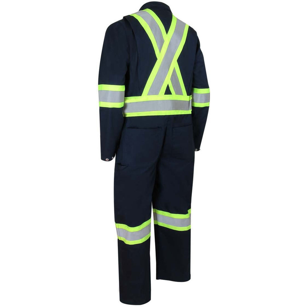 UNLINED COVERALL WITH ZIPPER ON THE LEGS AND REFLECTIVE STRIPES - Black Safety Pearl