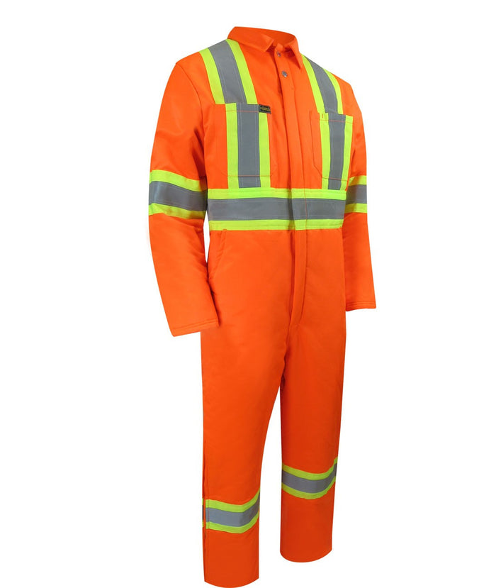 INSULATED COVERALL WITH ZIPPER ON THE LEGS AND REFLECTIVE STRIPES - Black Safety Pearl
