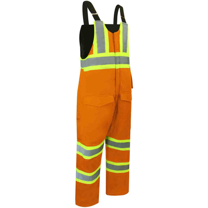 DUCK COTTON INSULATED BIB PANTS WITH ZIPPER ON THE LEGS AND REFLECTIVE STRIPES