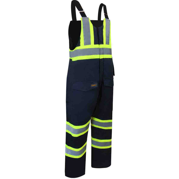 DUCK COTTON INSULATED BIB PANTS WITH ZIPPER ON THE LEGS AND REFLECTIVE STRIPES - Black Safety Pearl