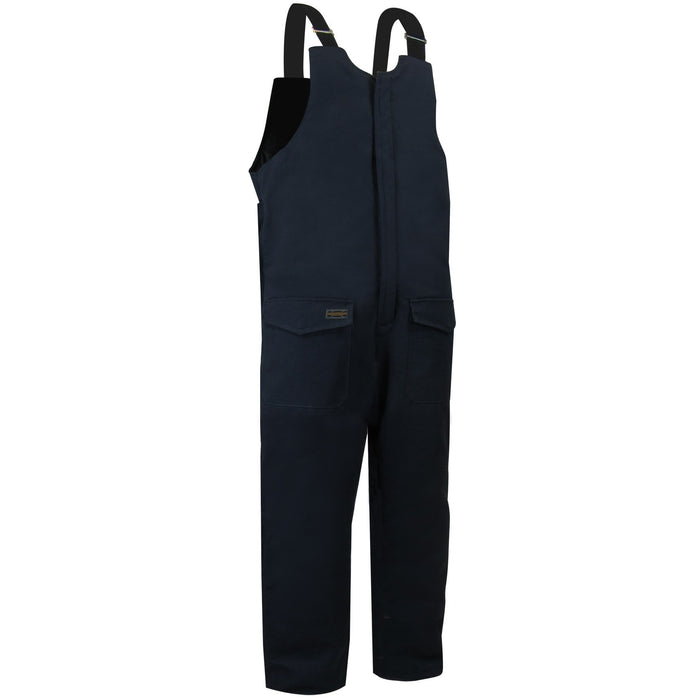 QUILTED DUCK COTTON BIB PANTS WITH ZIPPER ON THE LEGS - Black Safety Pearl