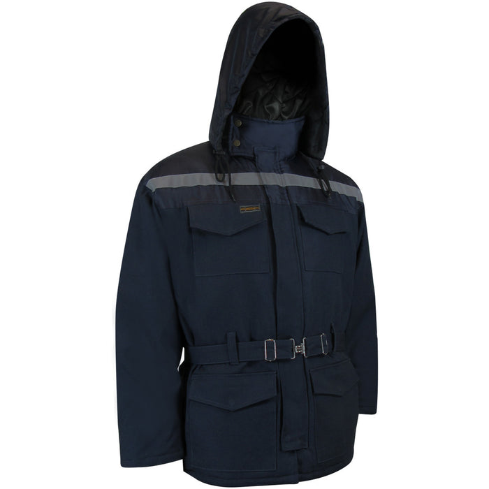 QUILTED DUCK COTTON PARKA WITH NYLON SHOULDERS - Black Safety Pearl