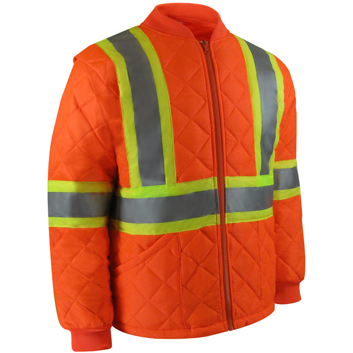 High visibility short freezer jacket with reflective stripes