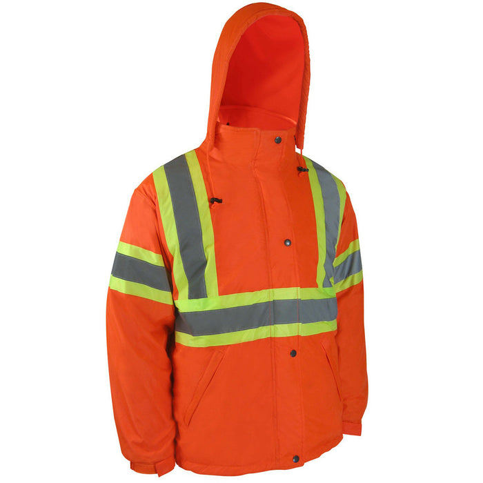 NYLON JACKET LINED WITH POLAR FLEECE WITH REFLECTIVE STRIPES