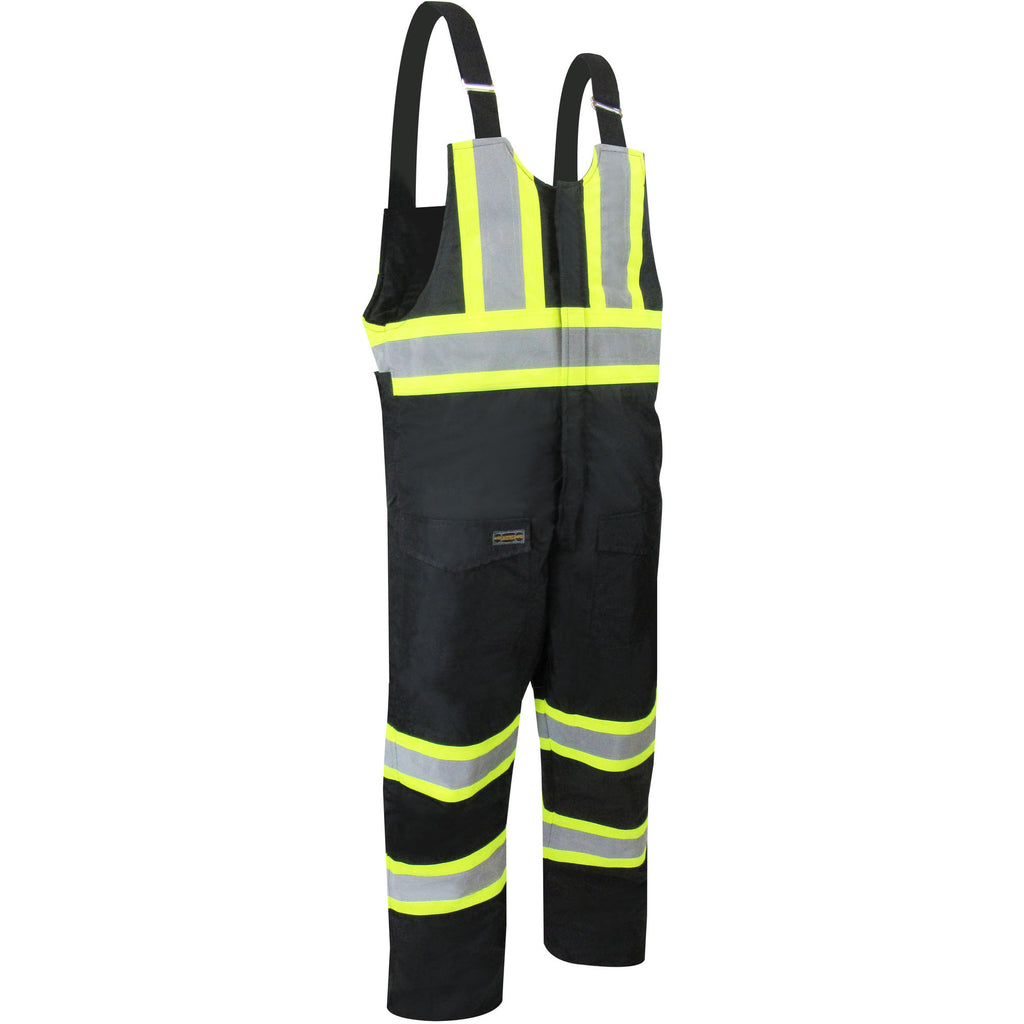 BIB PANTS WITH REFLECTIVE STRIPES - Black Safety Pearl