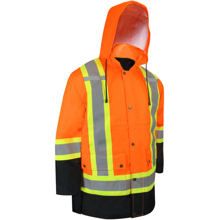 FLUORESCENT ORANGE WORKWEAR HI VISIBILITY 6 IN 1 PARKA WITH REFLECTIVE STRIPES