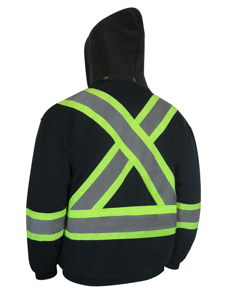 HOODED POLYESTER JACKET WITH REFLECTIVE STRIPES - Black Safety Pearl