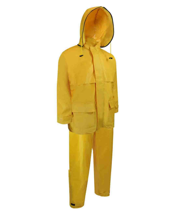 NYLON RAIN SUIT. JACKET AND BIB PANTS. - Black Safety Pearl