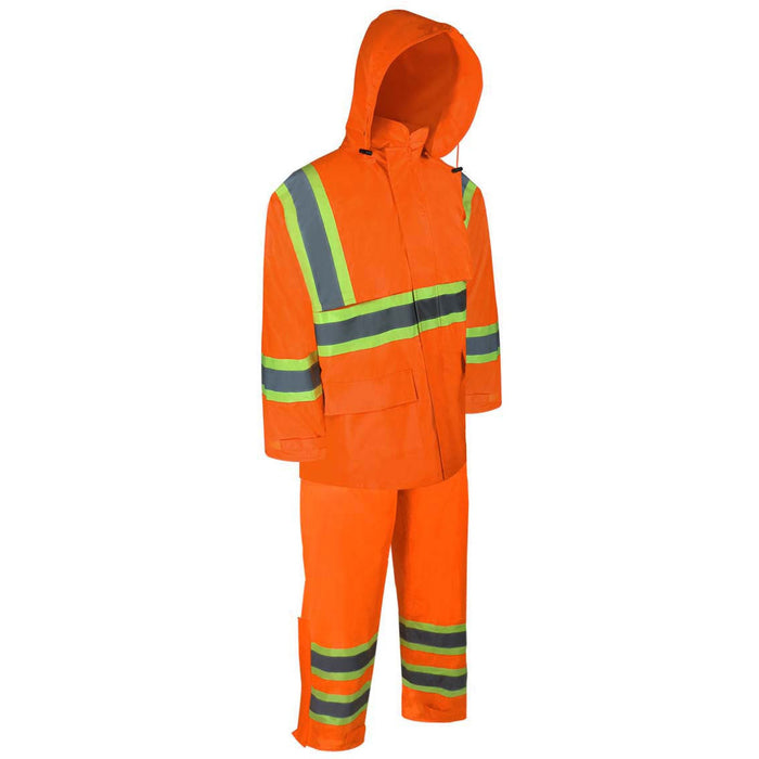 NYLON RAIN SUIT WITH REFLECTIVE STRIPES