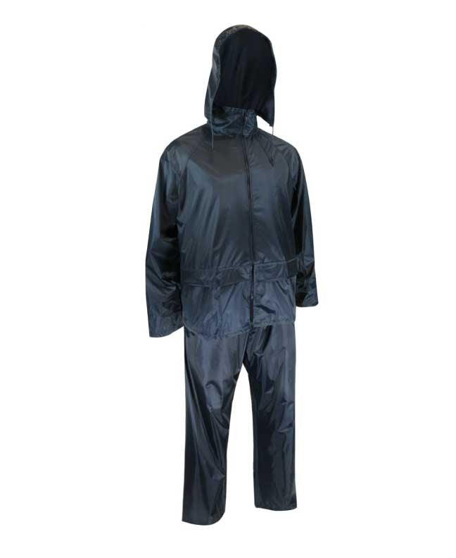 POLYESTER RAIN SUIT. JACKET AND PANTS - Black Safety Pearl