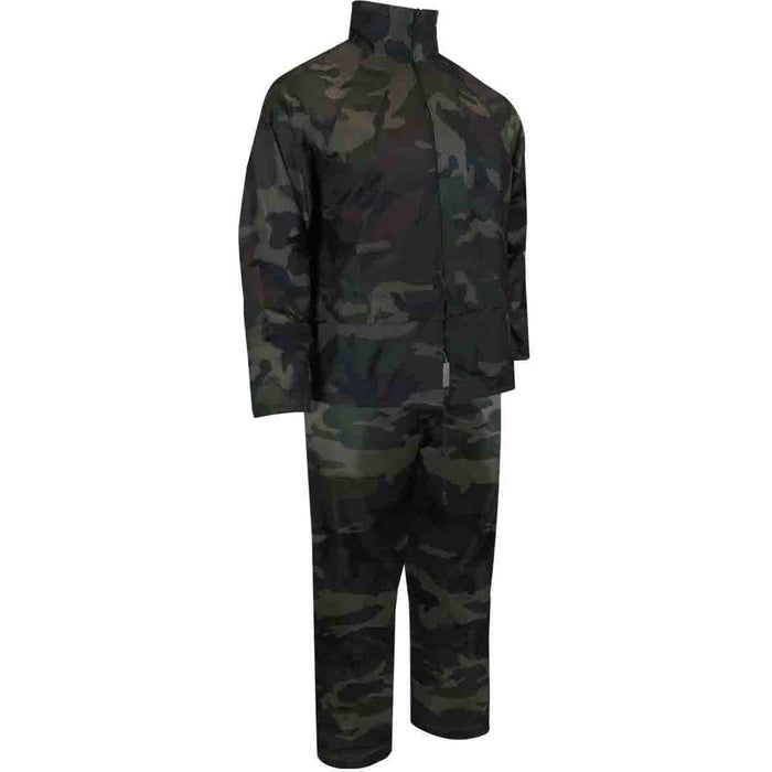 JUNIOR POLYESTER RAIN SUIT. JACKET AND PANTS - Black Safety Pearl