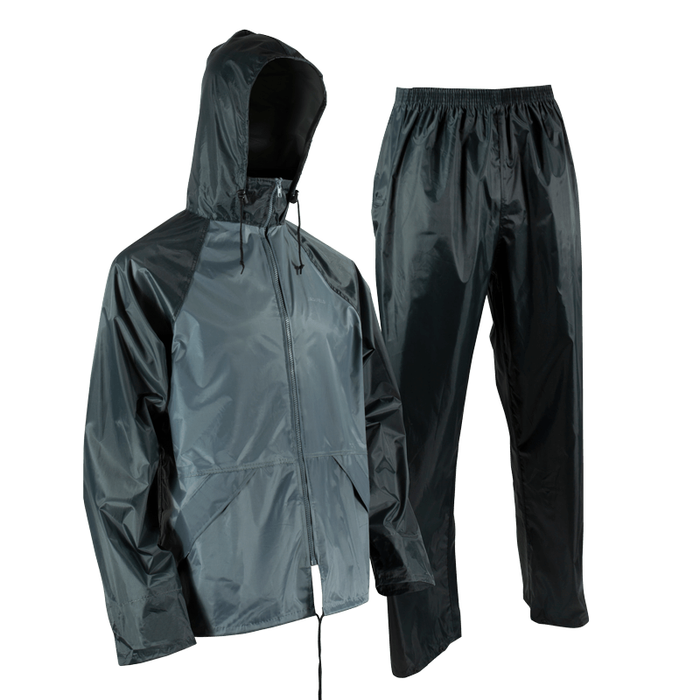 Ensemble imperméable de polyester 2 tons. Manteau et pantalon - Black Safety Pearl