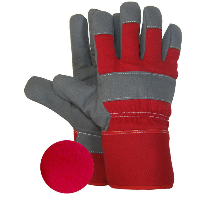 SYNTHETIC LEATHER WORK GLOVE FOAM AND FLANNEL LINING(Pack of 3 pairs) - Black Safety Pearl