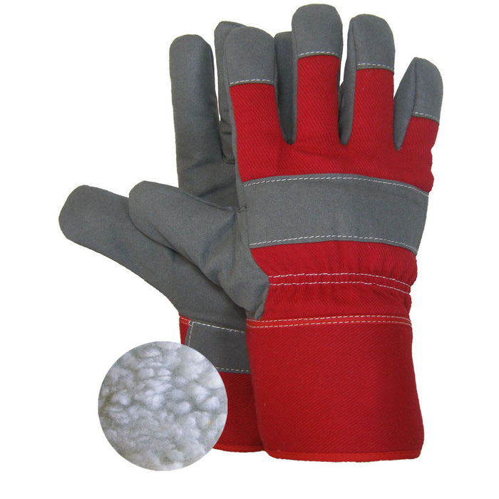 SYNTHETIC LEATHER WORK GLOVE FOAM AND PILE LINING(Pack of 3 pairs) - Black Safety Pearl