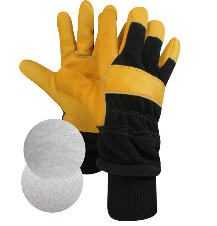 LEATHER WORK GLOVE. FOAM AND THERMAKEEPER LINING (Pack of 3 pairs) - Black Safety Pearl