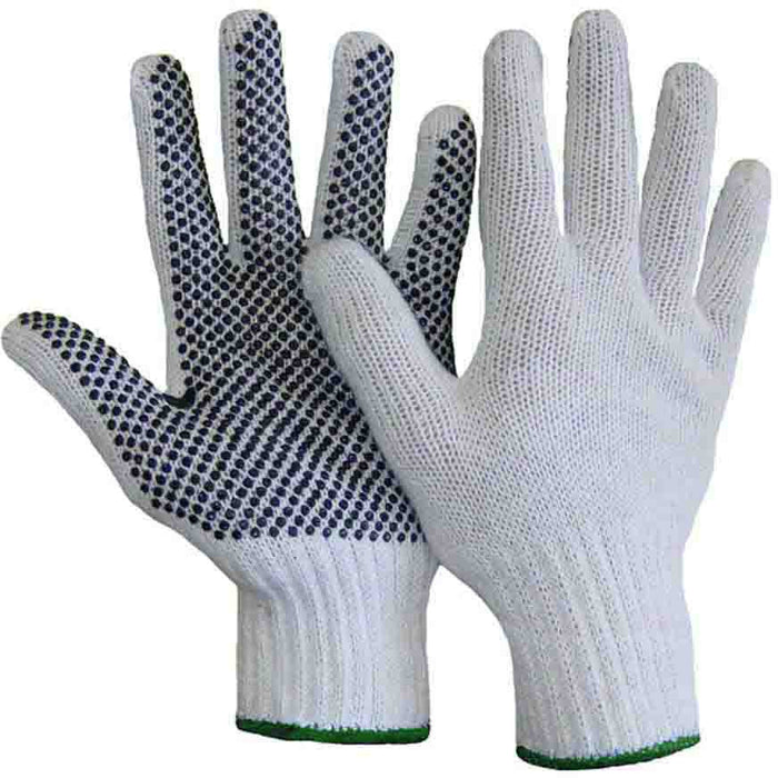 Knit glove with PVC dots(Pack of 6 pairs) - Black Safety Pearl