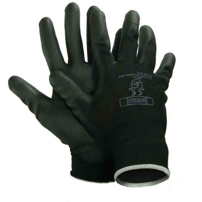 POLYURETHANE GLOVE(Pack of 6 pairs) - Black Safety Pearl