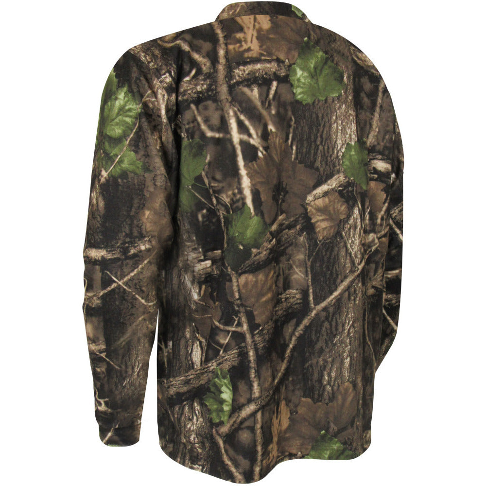 Camo long sleeves brushed polyester T-shirt - Black Safety Pearl