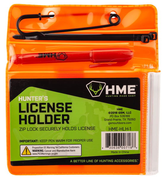 HME™ HUNTER'S LICENSE HOLDER WITH PEN & ZIP TIES