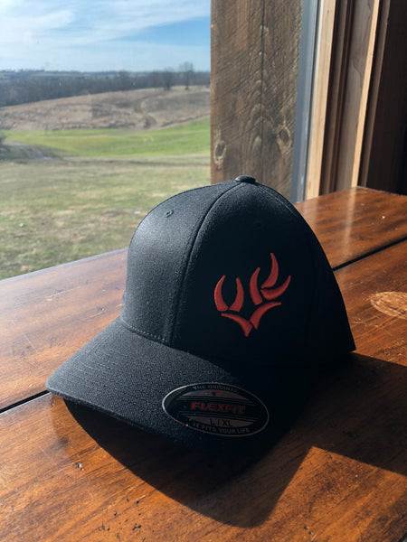 WHO BLACK & ORANGE FLEXFIT HAT