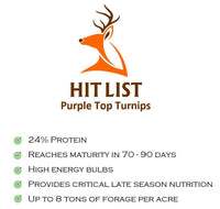 HIT LIST PURPLE TOP TURNIPS 6 LB BAG 1 ACRE