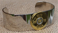 SPENT ROUNDS™ 12 GAUGE SILVER CUFF BRACELET WITH GOLD ROUND