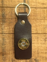 SPENT ROUNDS™ 12 GAUGE LEATHER RECTANGLE KEYCHAIN, BROWN