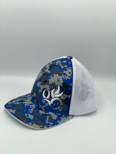 WHO EAST WEST CONNECTION DIGITAL CAMO TRUCKER FLEXFIT