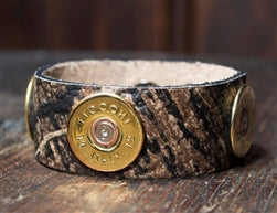 SPENT ROUNDS™ 12 GAUGE GOLD LEATHER BRACELET CAMO