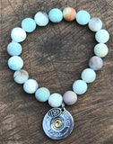 SPENT ROUNDS™ 12 GAUGE SHOT SHELL AMAZONITE BLUE MIX BEADED BRACELET