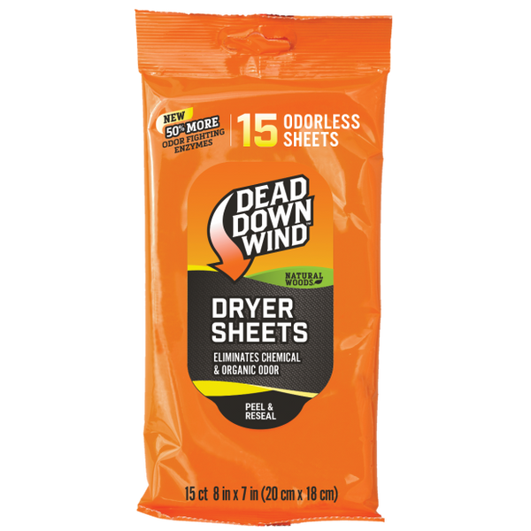 DEAD DOWN WIND™ DRYER SHEETS NATURAL WOODS 15 PK.