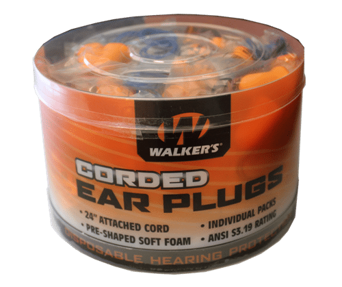 WALKER'S® FOAM EAR CORDED PLUGS – 50 PAIR JAR