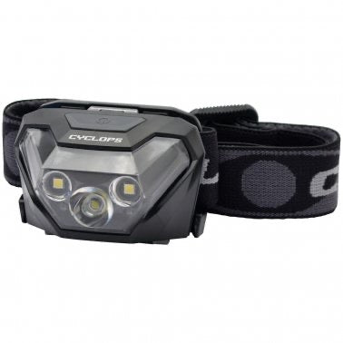 CYCLOPS® 5W CREE LED 500 LUMEN HEADLAMP w/ RED LED & BLACK STRAP