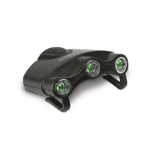 CYCLOPS® ORION HAT CLIP LIGHT w/ 3 GREEN LED LIGHTS