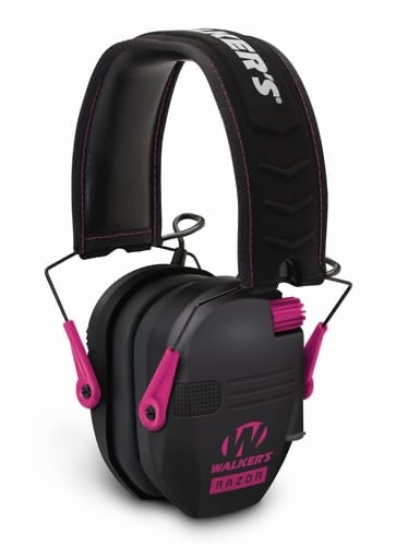 WALKER'S® RAZOR SLIM ELECTRONIC MUFF-BLACK w/ PINK ACCENT