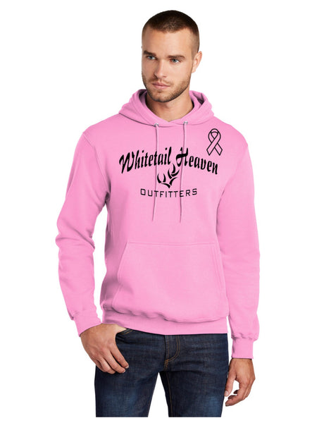 WHITETAIL HEAVEN BREAST CANCER AWARENESS PULLOVER HOODED SWEATSHIRT